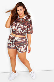 Brown Camo Hooded Crop Top Plus Sizes