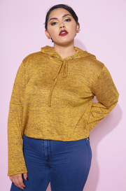 Heather Mustard Hooded Crop Top Plus Sizes