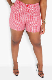 Red Gingham Pleated Shorts Plus Sizes