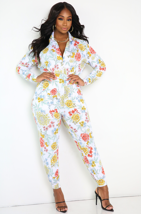 White  Floral Button Down Jumpsuit Plus Sizes