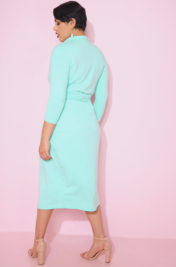 Mint color belted blazer midi dress plus sizes rebdolls