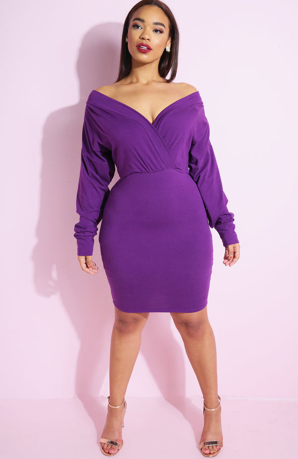 Purple Drop Neck Bodycon Mini Dress plus sizes