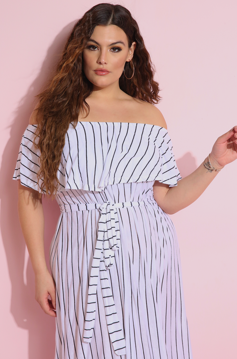 Black White Striped Ruffled Skater Maxi Dress Plus Size