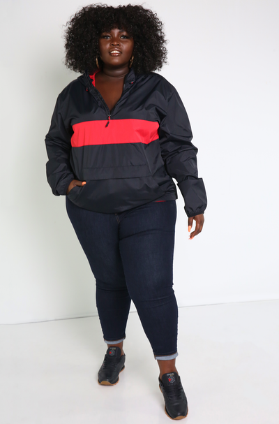 Black Wind-Breaker Jacket Plus Sizes