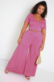 Party Pink Pleated Puff Sleeve Crop Top Plus Sizes