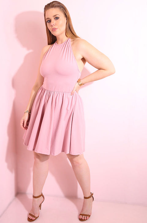 Skater halter mini dress in a baby pink cotton fabric plus sizes