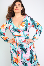 Pink Tropical Print Long Sleeve Maxi Dress Plus Sizes
