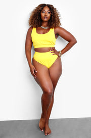 Yellow Tank Style Swim Top Plus Sizes