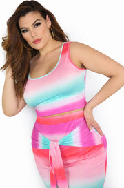 Multi-Color Watercolor Tank Crop Top Plus Sizes