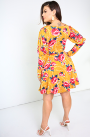 Mustard Puff Sleeves Skater Mini Dress Plus Sizes