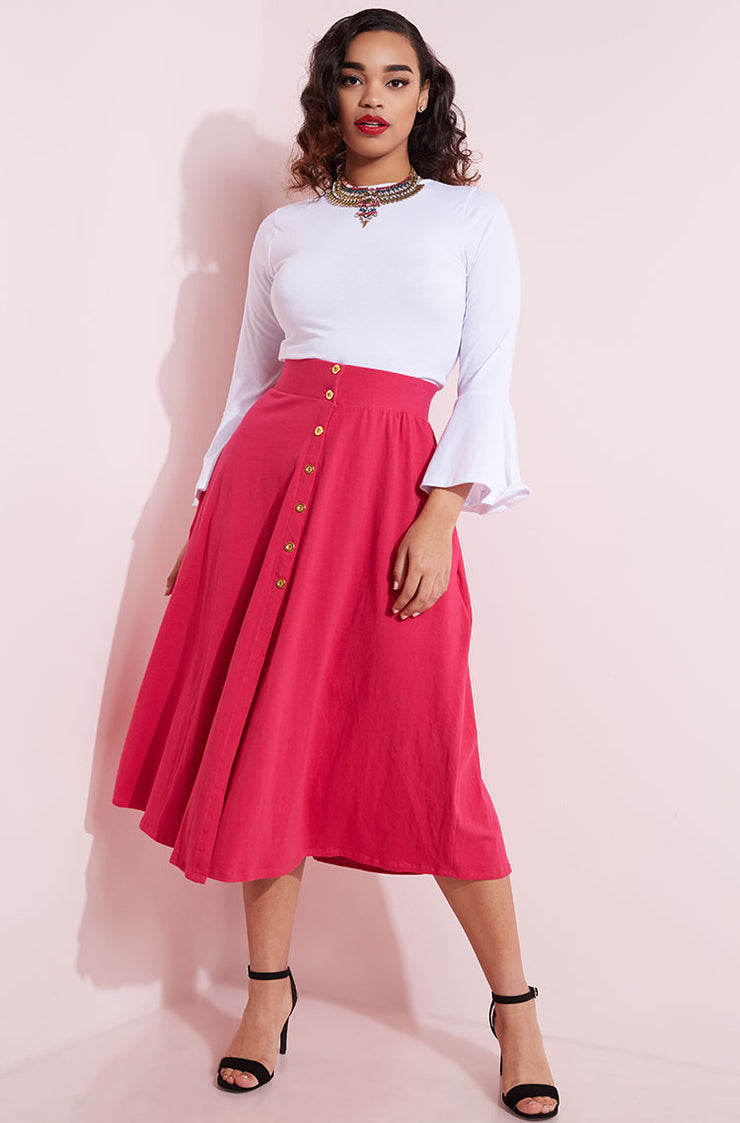 Fuchsia Button Down Skater Midi Skirt Plus Sizes