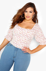 Mauve Floral Smocked Crop Top Plus Sizes