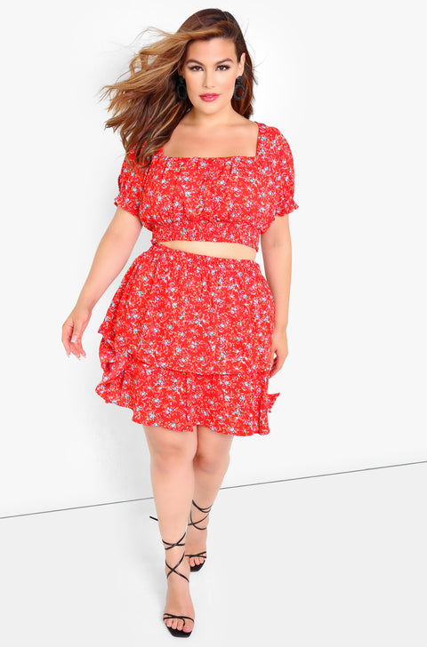 Red Puff Sleeve Crop Top Plus Size