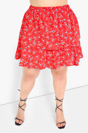 Red Layered Mini Skirt Plus Sizes