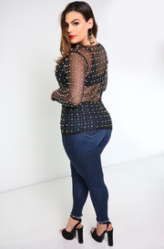 Black Mesh Pearl Long Sleeve Top Plus Sizes