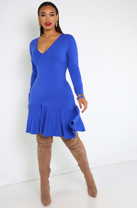 Royal Blue Bodycon Ruffled Hem Dress
