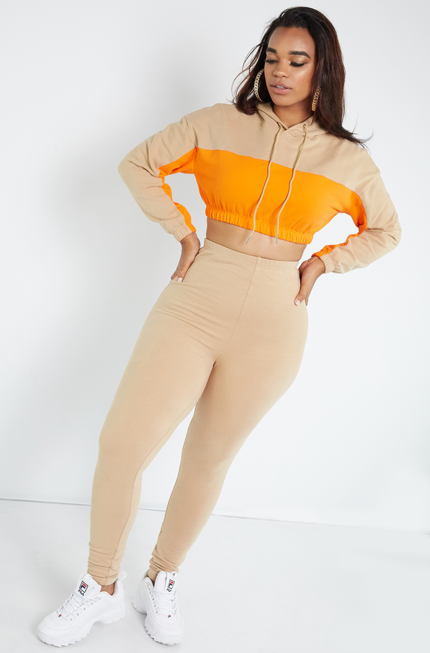 Beige Insulated Two Color Cropped Hoodie Plus Sizes