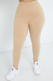 Beige Insulated High Waist Leggings Plus Sizes