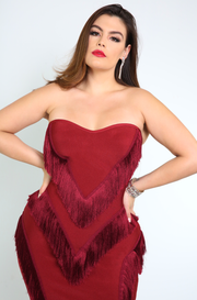 Burgundy Fringe Strapless Bandage Dress Plus Sizes
