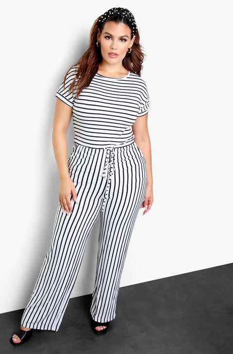 "Rebdolls ""Take A Risk"" Striped Wide Leg Jumpsuit"