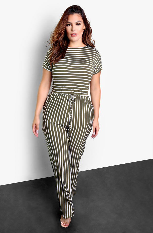 Olive Striped Wide Leg Jumpsuit Plus Sizes