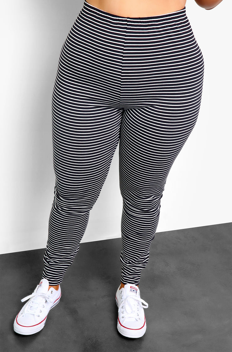 Black Striped Lounge Joggers Plus Sizes