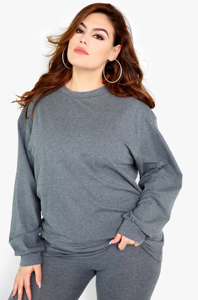 Grey  Longline Long Sleeve Top Plus Size