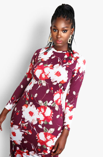 Burgundy Floral Long Sleeve Bodycon Plus Size Midi Dress