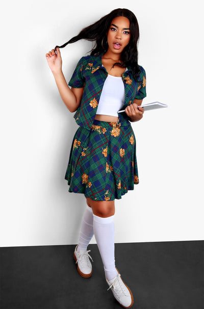 Hunter Green Plaid Short Sleeve Cardigan & Mini Skater Skirt Set Plus Sizes
