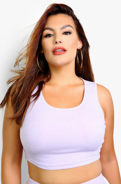 Lilac Tank Crop Top Plus Sizes
