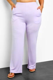 "Rebdolls ""Take Your Time"" Ribbed Straight Leg Palazzo Pants w. Pockets"