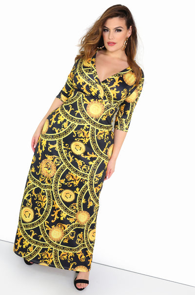 Black 3/4 Sleeve Maxi Dress Plus Sizes