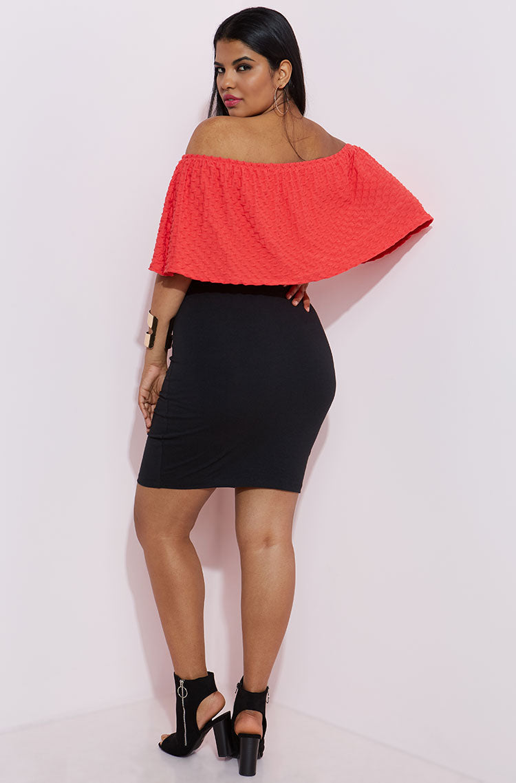 Coral Textured Over The Shoulder Crop Top plus sizes