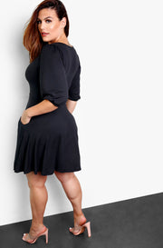 Black Scoop Neck Skater Mini Dress w. Pockets Plus Sizes