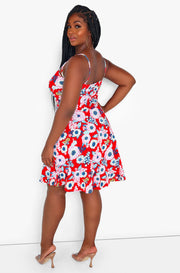 Red Caged Floral Skater Mini Dress Plus Sizes