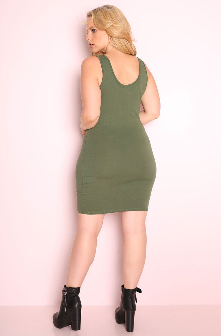Olive Essential Tank Bodycon Mini Dress plus sizes