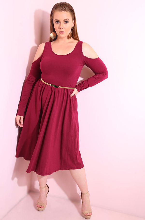 Burgundy Cold shoulder, long sleeve skater midi dress plus sizes