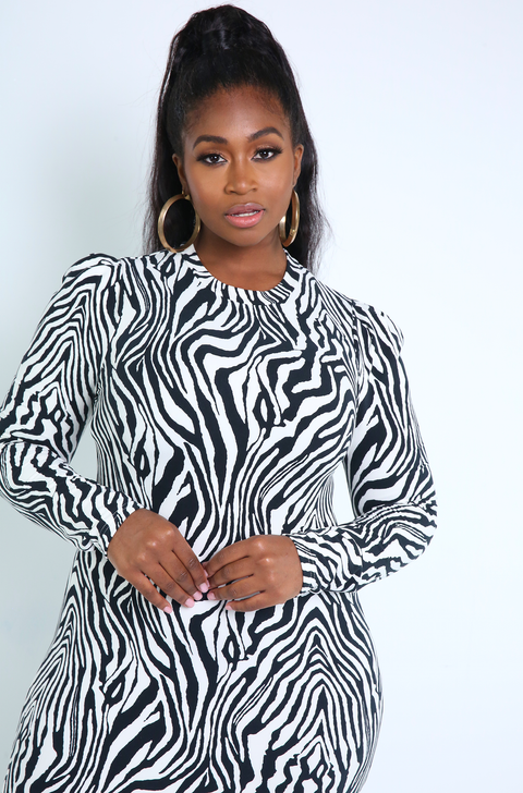 Black Zebra Print Puff Sleeves Bodycon Mini Dress Plus Sizes