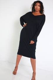 Black Oversized Long Sleeve Dress Plus Sizes