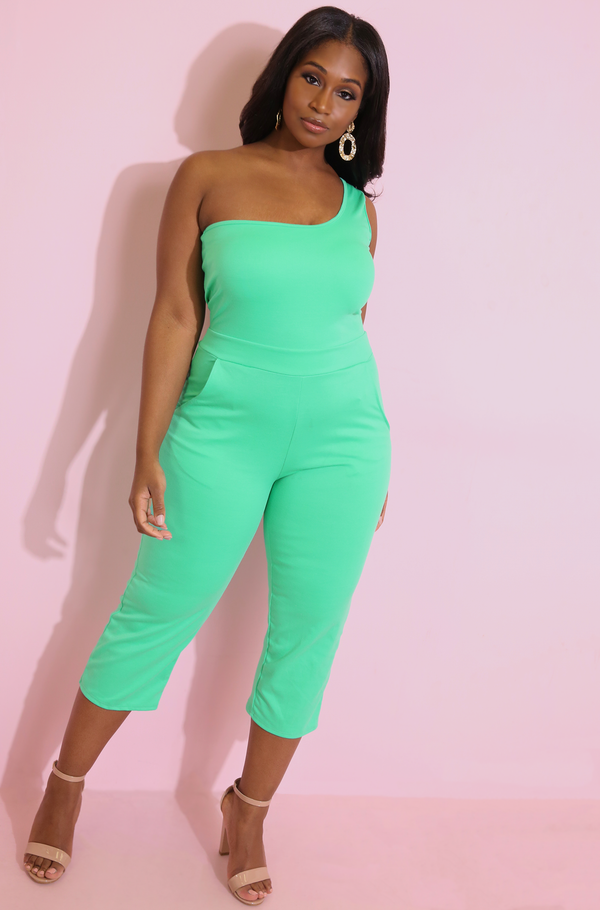 Mint One Shoulder Jumpsuit Plus Sizes