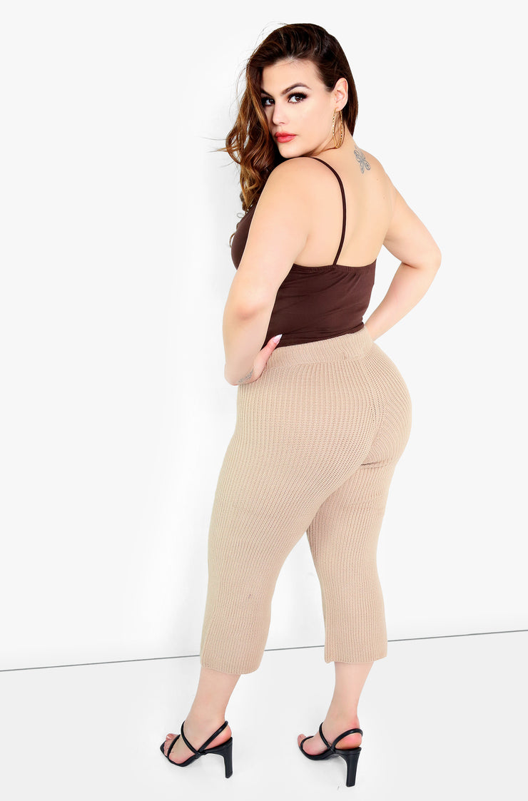 Nude Knit Cropped Pants Plus Sizes