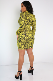 Neon Yellow Leopard High Neck Long Sleeve Mini Dress Plus Sizes