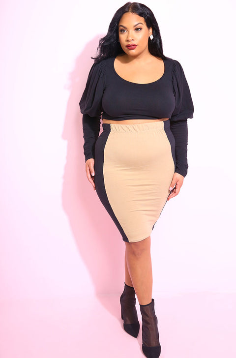Nude Puff Sleeve Crop Top plus sizes