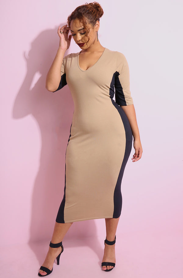 Nude Bodycon Two Tone Midi Dress plus sizes