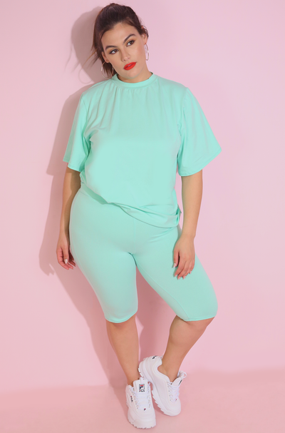 Mint High Waist Bermuda Shorts Plus Sizes