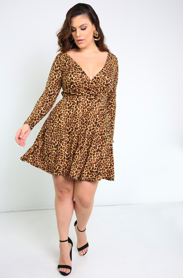Brown Animal Print Skater Mini Dress Plus Sizes