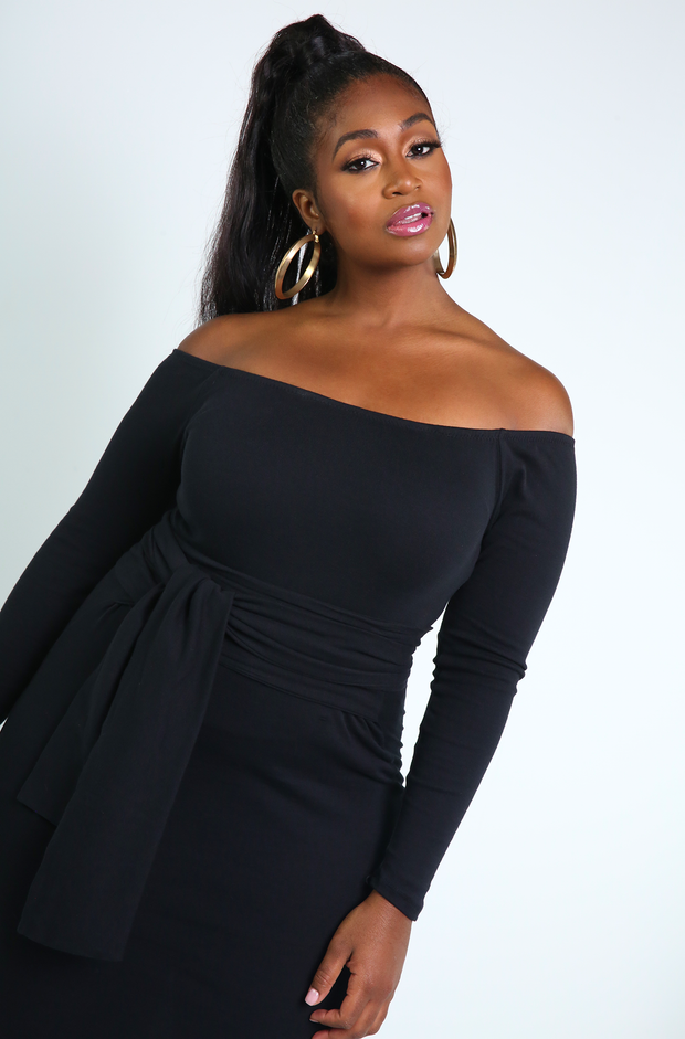 Black Waist Tie Bodycon Midi Dress Plus Sizes