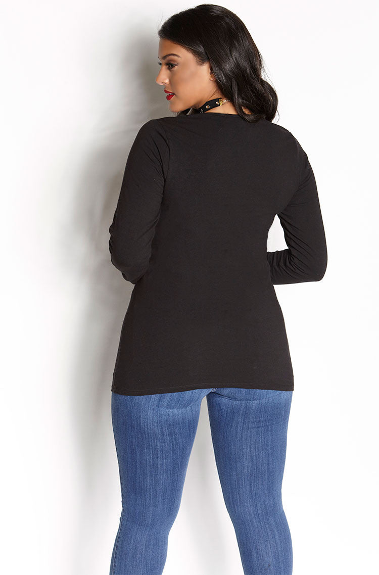 Black V-Neck Full Length Top plus sizes