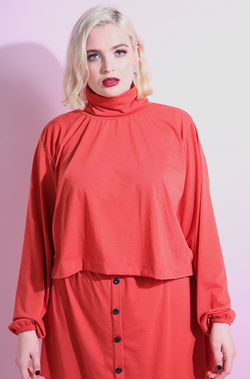 Burnt Orange TurtleNeck OverSized Crop Top plus sizes