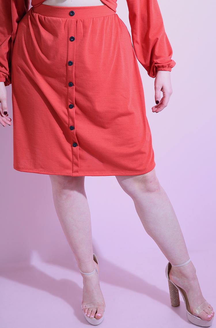 Burnt Orange A-Line Mini Button Skirt plus sizes